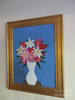 Gold framed Lily in Vase by Sandra Spincola