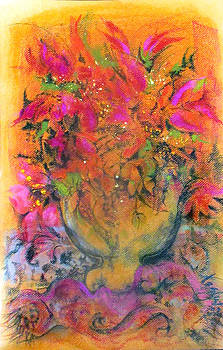Gold Glass Saffron-pink Flowers by Josie Taglienti