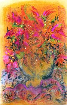Josie Taglienti - GOLD GLASS SAFFRON-PINK FLOWERS