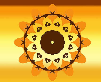 Gold spiral Fire flaming sunflower at sunset by Larisa Karpova
