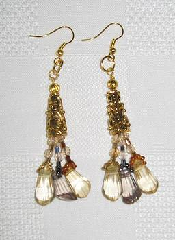 Gold Tone and Hanging Bead Earrings by Fatima Pardhan