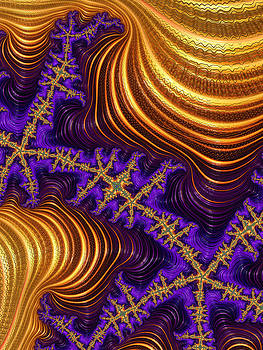 Golden and purple fractal river and mountain landscape by Matthias Hauser