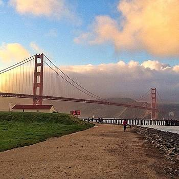 Golden Clouds At Golden Gate Bridge by Karen Winokan