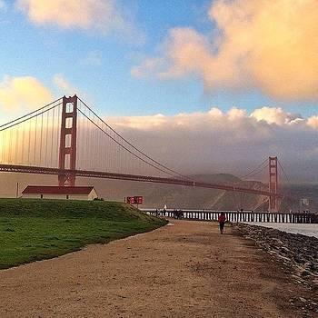 Golden Clouds At Golden Gate Bridge by Karen Winokan