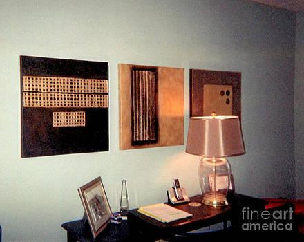 Marlene Burns - Golden Coin Triptych Installation