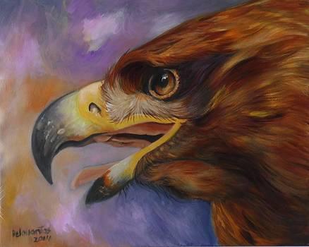 Golden Eagle Portrait by Kristina Delossantos
