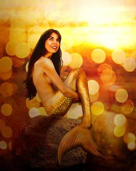 Golden Heart Mermaid by Lucinda Rae