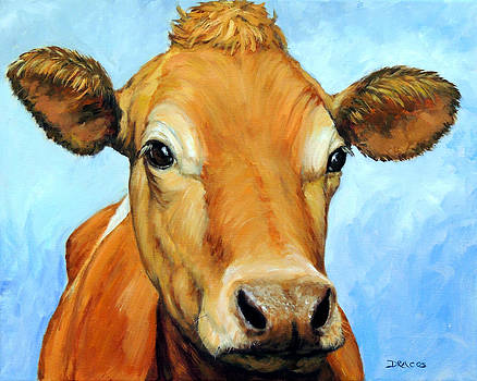Golden Jersey Cow on Blue by Dottie Dracos