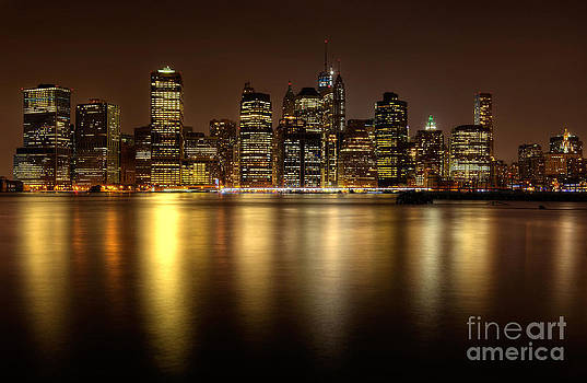 Golden Reflections of Manhattan by Cathy Alba