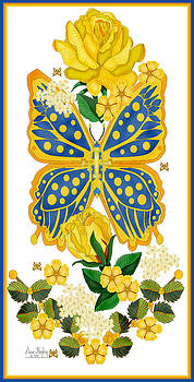 Golden Roses and Blue Butterfly by Anne Norskog