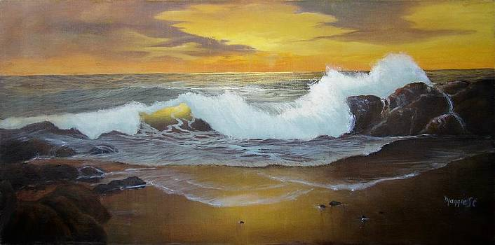 Golden Sunset Seascape by Maggie  Cabral