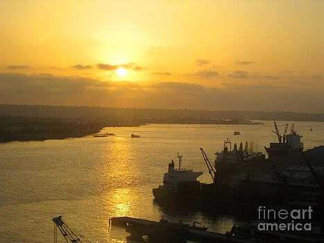Golden Sunset Viewed From Coronado Bridge 2 by Claudia Ellis