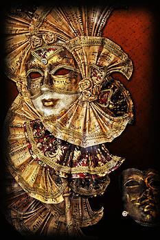 Golden Vintage Venetian Mask with music decorations by Luisa Vallon Fumi