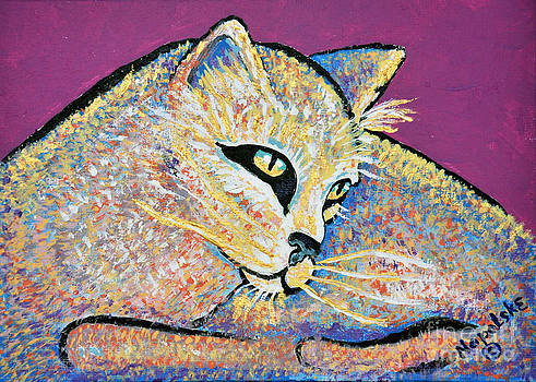 Goldie abstract cat by Barney Napolske
