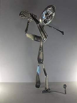 Golfeur En Action by Dalu sculpteur Anticonformiste