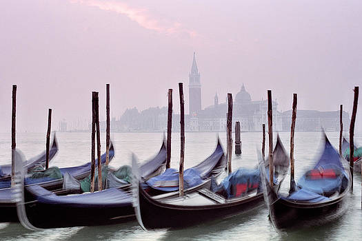 Gondolas and San Giorgio at Sunrise in Venice by Greg Matchick
