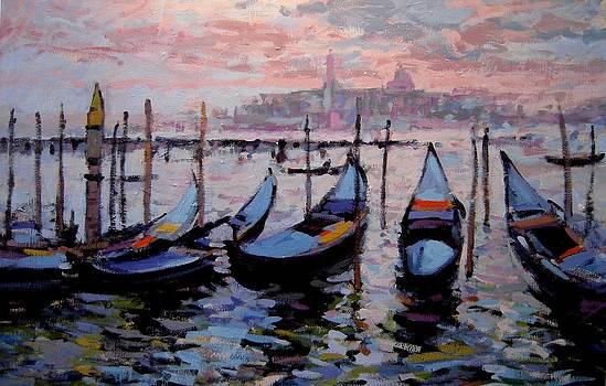 Gondolas in twilight by R W Goetting