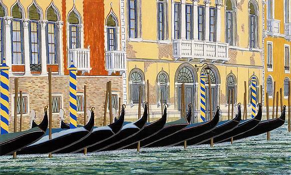 Gondolas On The Grand Canal  by David Hinchen