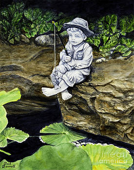Gone Fishing Statue beside a Koi Pond by Gail Darnell