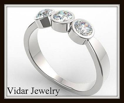 Gorgeous 14k White Gold Diamond Women Wedding Ring by Roi Avidar