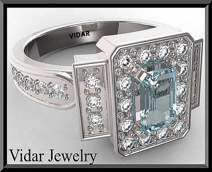 Gorgeous Blue Aquamarine And Diamond 14k White Gold Engagement Ring by Roi Avidar