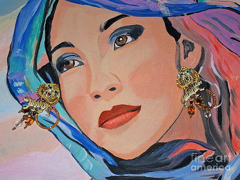 Gorgeous Lady with Beautiful Earrins by Phyllis Kaltenbach