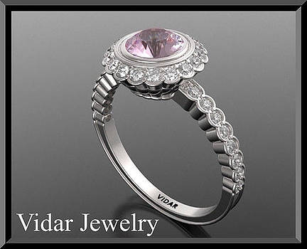 Gorgeous Pink Sapphire And Diamond 14k White Gold Engagement Ring by Roi Avidar