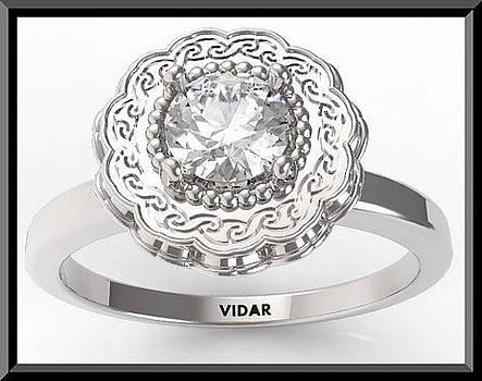 Gorgeous Round Diamond 14k White Gold Engagement Ring  by Roi Avidar
