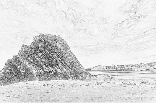 Steve Purnell - Goscar Rock Tenby Pencil Sketch