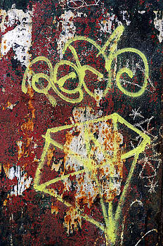 Graffiti On Rusted Door by Norman Pogson