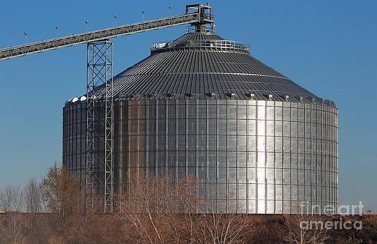 Grain Bin with Bluesky by Robert D  Brozek