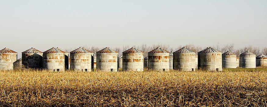 Grain Bins in a field by James Blackwell JR