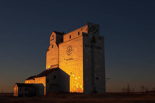 Sunset Grain Elevator at Meadows by Steve Boyko