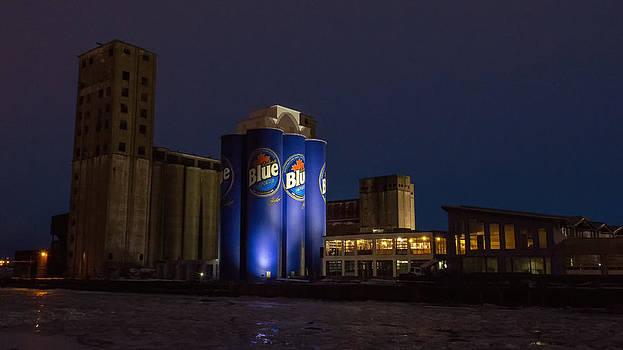 Grain Elevators At Night by Guy Whiteley