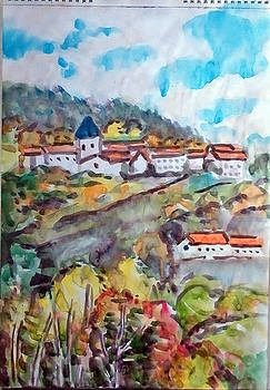Graix Village In Pilat Mountain In Autumn by Chevassus-agnes Jean-pierre
