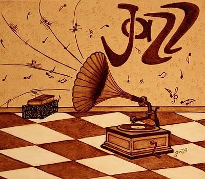 Gramophone Playing Jazz Music painting with coffee by Georgeta  Blanaru