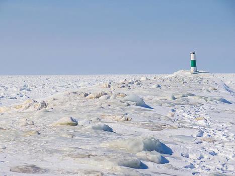 Grand Haven Channel Under Ice by Kirsten Dykstra