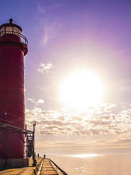 Grand Haven Lighthouse at Sunset by Kirsten Dykstra
