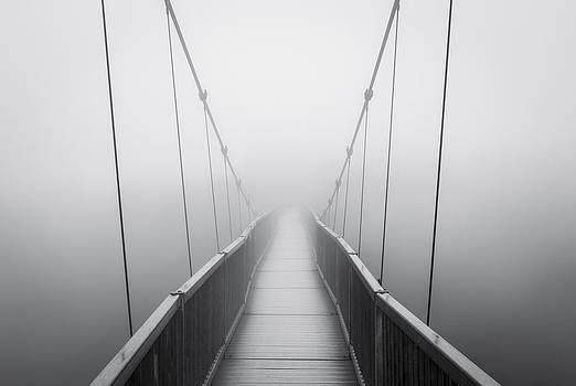 Grandfather Mountain Heavy Fog - Bridge to Nowhere by Dave Allen
