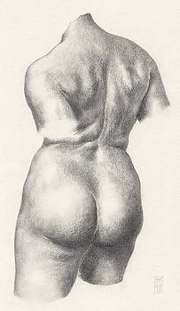 Graphite Drawing of Bronze-Torso Maillol Sculpture Chained Action by Scott Kirkman