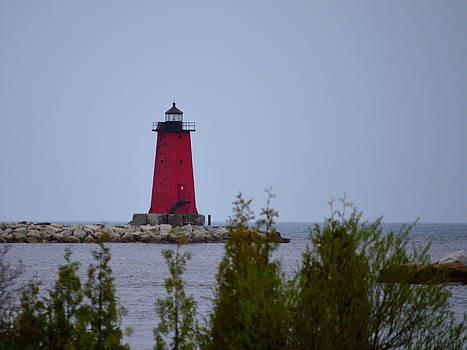 Gray Day Manistique Lighthouse by Merridy Jeffery