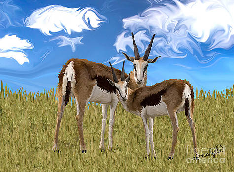 Grazing Gazelles by Sherin  Hylan