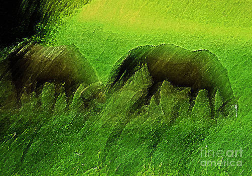 grazing Horses watercolor by Fred L Gardner