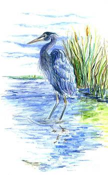 Ellen Miffitt - Great Blue Heron Wades in the Marsh