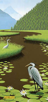 Great Blue Herons On A Lily Pad Pond by Guy Radcliffe