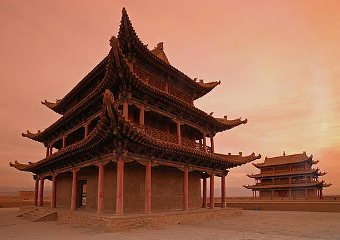 Great wall pagoda at sunset by Gordon  Grimwade