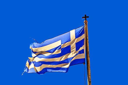 Greece Flag on blu by Renato Armignacco