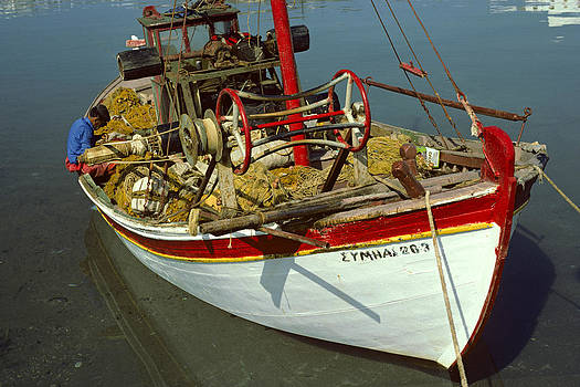 Greek Fishing Boat 1980s by David Davies