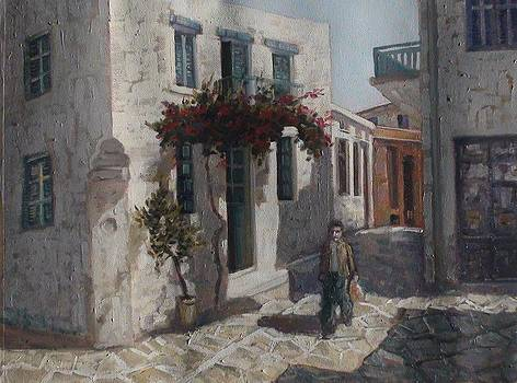 Greek island street by Charalampos Laskaris