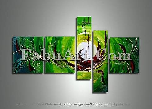 Green Abstract Art Painting 171 - 64 x 32in by FabuArt